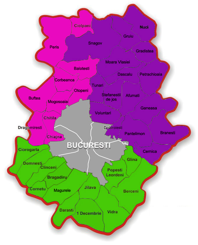 Harta Ilfov Bucuresti